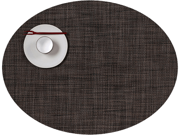 Mini Basketweave - Oval placemat by Chilewich, Dark Walnut