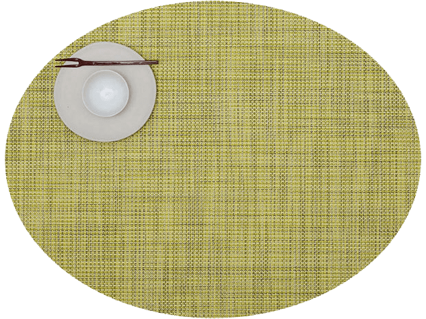 Mini Basketweave - Oval placemat by Chilewich, Lemon