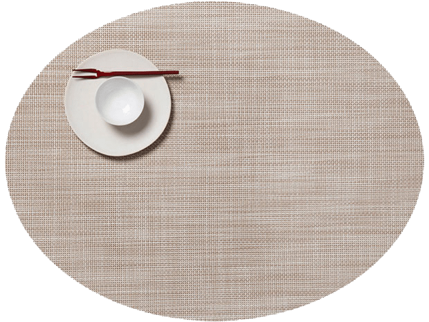Mini Basketweave - Oval placemat by Chilewich, Parchment