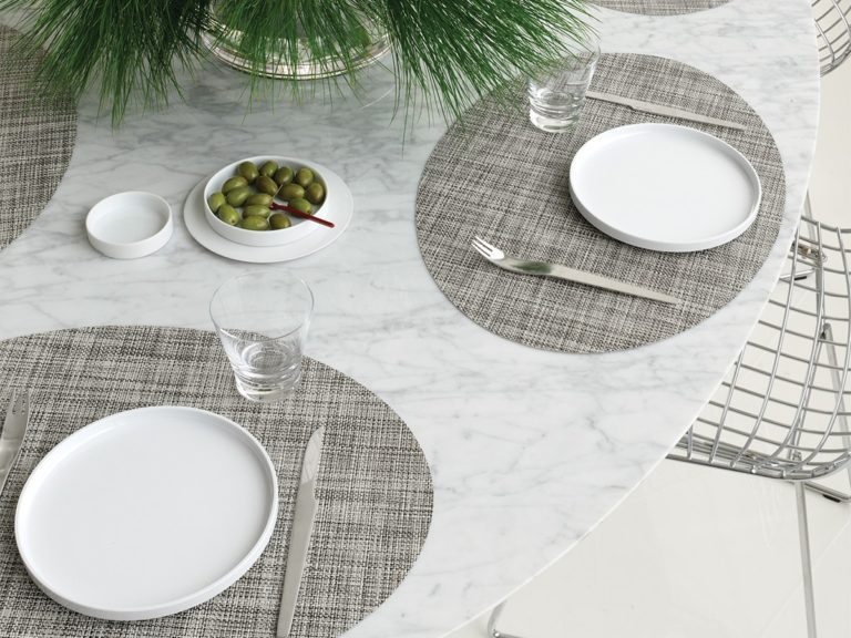 Mini Basketweave - Oval placemat by Chilewich, Gravel