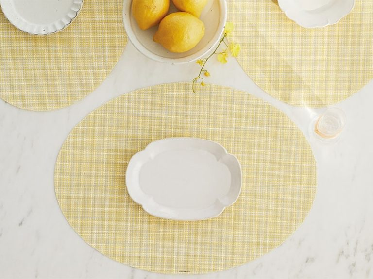 Mini Basketweave - Oval placemat by Chilewich, Daffodil