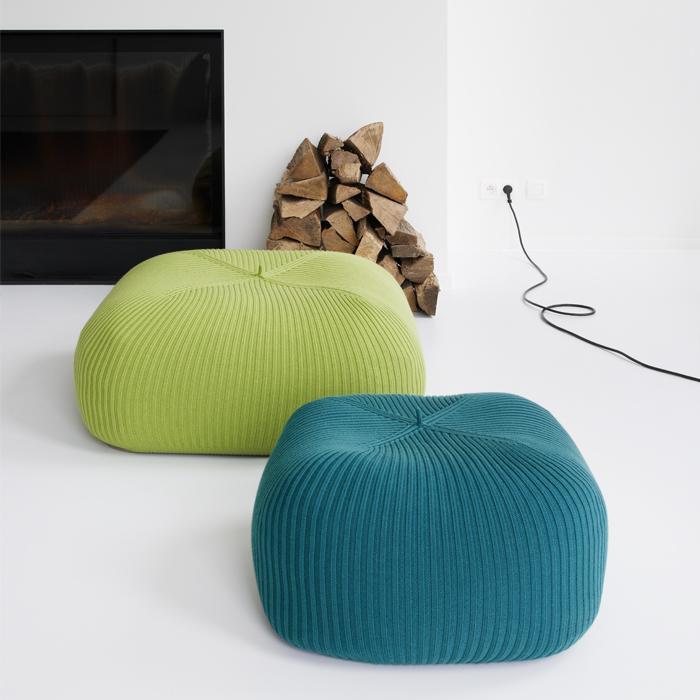 Bonnet Indoor Quadrato poufs by Casalis