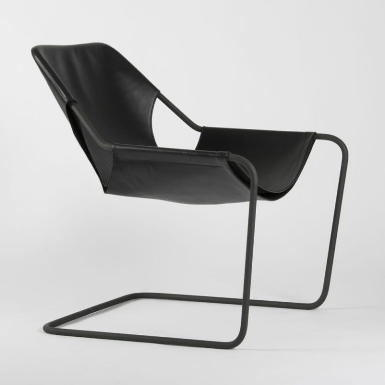 Paulistano chair, Leather Black & Black Powder coated steel