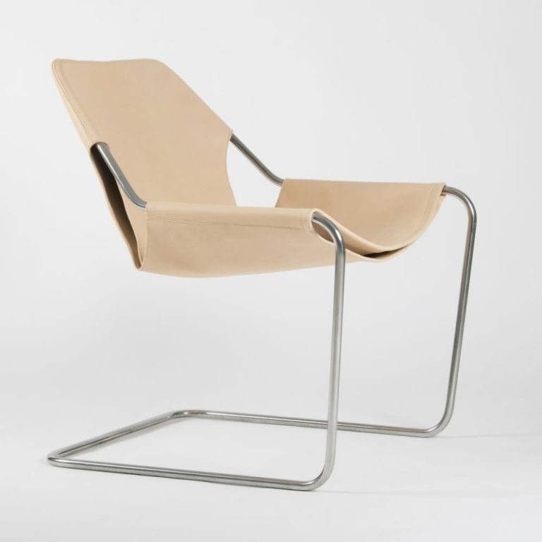 Paulistano chair, Leather Natural & Polished Stainless steel