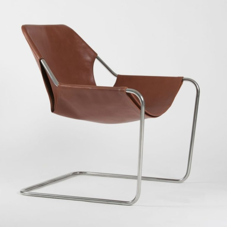 Paulistano chair, Leather Terracotta & Polished Stainless steel
