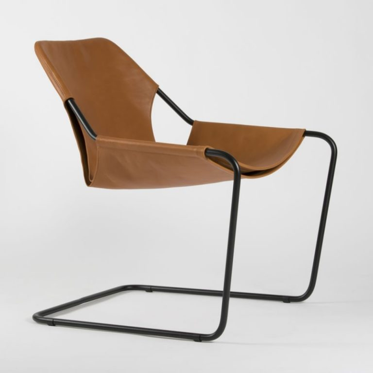 Paulistano chair, Leather Whisky & Black Powder coated steel