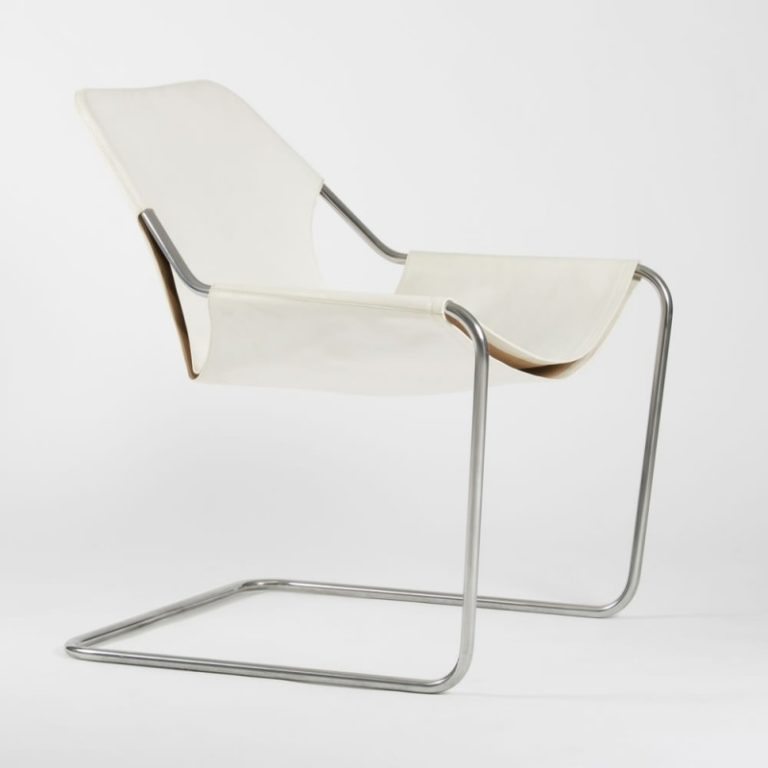 Paulistano chair, Leather White & Polished Stainless steel