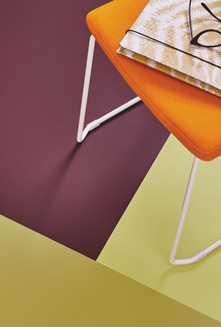 Acczent Excellence. Uni Bright Anis, Uni Intense Olive & Uni Intense Plum by Tarkett