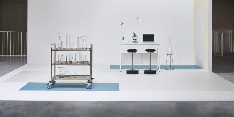 Acczent Excellence. Tissage Soft Light Blue & Uni White by Tarkett