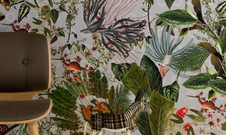 Moooi Wallcovering Extinct Animals by Arte, Menagerie of Extinct Animals pattern, Cloud, installation