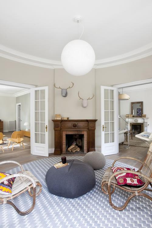 Bonnet poufs and cushions - apartment interior
