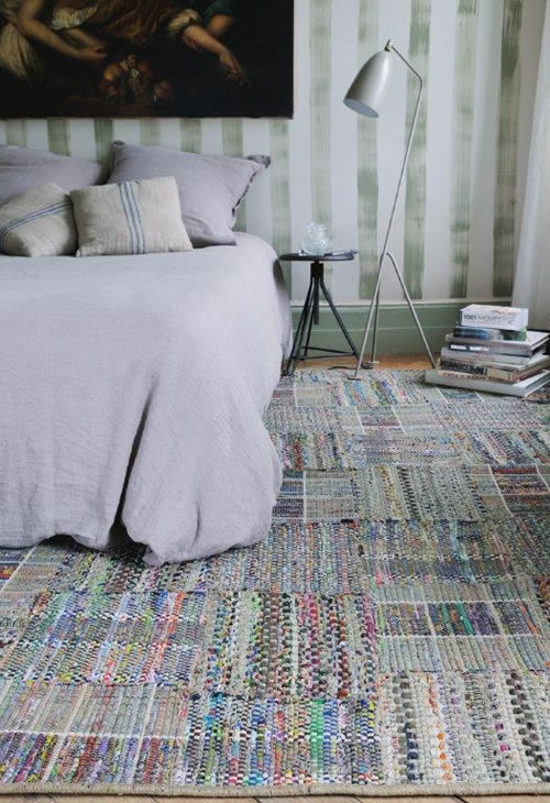 Porquerolles by Toulemonde Bochart, hand woven rug formed with cotton patches