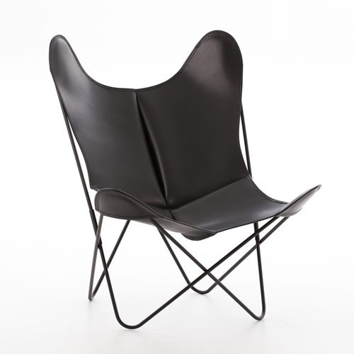 The Butterfly Chair: Leather armchair with metal frame